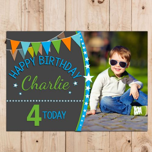 Boys Personalised Stars & Bunting Happy Birthday Party PHOTO Poster Banner N108